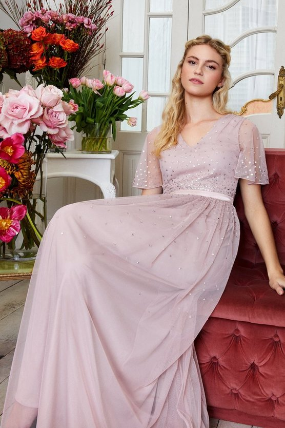 Blush Embellished Angel Sleeve Maxi Dress