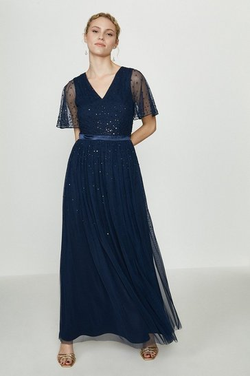 Navy Embellished Angel Sleeve Maxi Dress