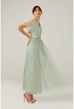 Sage Embellished Angel Sleeve Maxi Dress
