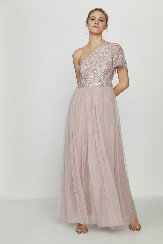 Blush Embellished One Shoulder Maxi Dress