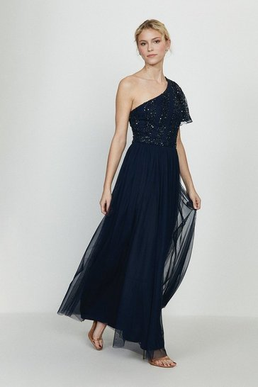 Navy Embellished One Shoulder Maxi Dress