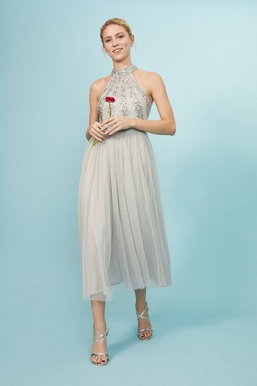 Silver Embellished Pleated Midi Dress