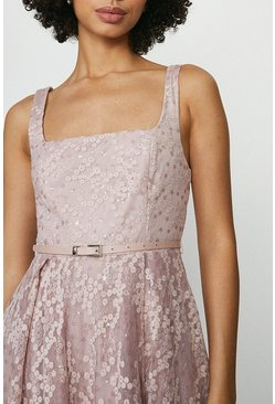 Blush Square Neck Belted Lace Maxi Dress