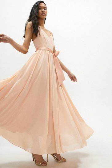 Apricot Plunge Neckline Strappy Maxi Dress