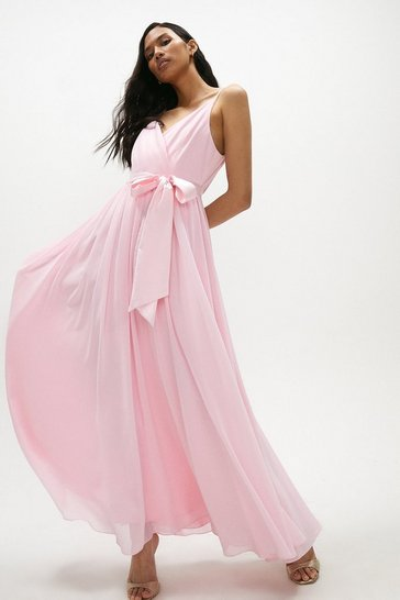 Blush Plunge Neckline Strappy Maxi Dress