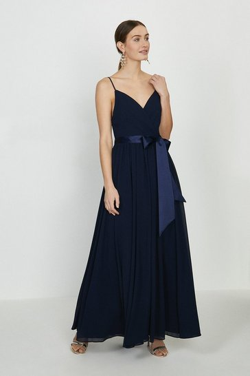 Navy Plunge Neckline Strappy Maxi Dress