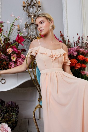 Apricot Cold Shoulder Ruffle Maxi Dress
