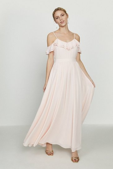 Blush Cold Shoulder Ruffle Maxi Dress