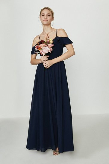 Navy Cold Shoulder Ruffle Maxi Dress