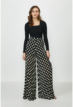Black Spot Pleated Wide Leg Trouser