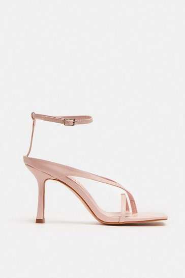 Blush Square Toe Strappy Heels