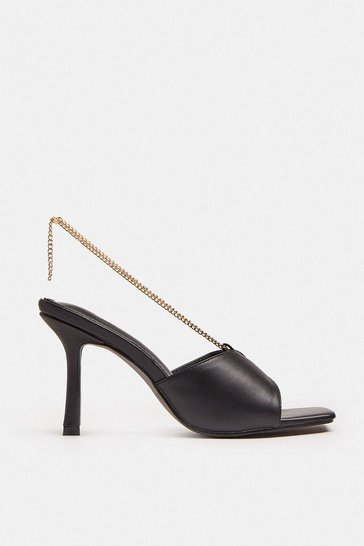 Black Heeled Mule With Chain Detail
