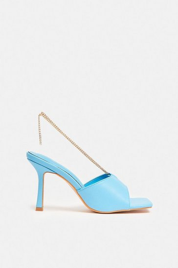 Blue Heeled Mule With Chain Detail