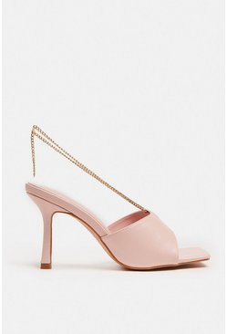 Blush Heeled Mule With Chain Detail