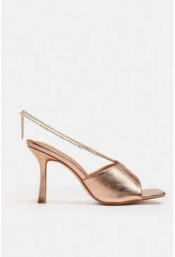 Rose gold Heeled Mule With Chain Detail