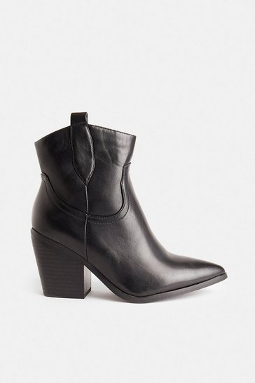 Black Heeled Western Boot