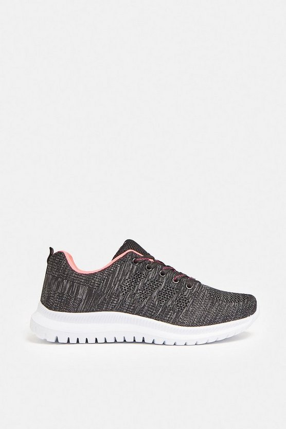 Black Knitted Fabric Gym Trainers