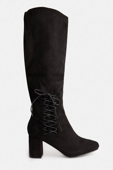 Black Lace Up Knee High Heeled Boots