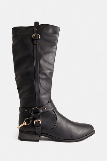 Black Knee High Buckle Detail Riding Boots