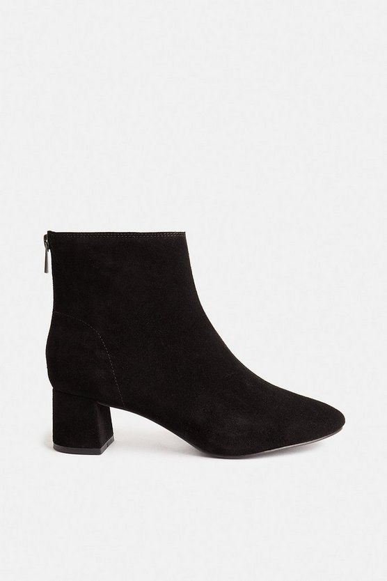 Black Low Block Suede Heeled Ankle Boots