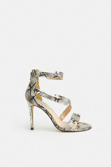 Natural Snake Print Cross Over Strappy Heels