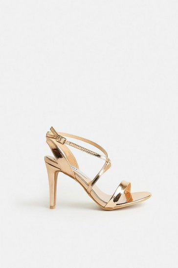 Gold Cross Over Strap Heels