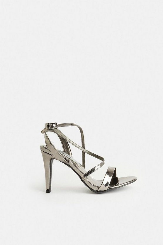 Gun metal Cross Over Strap Heels