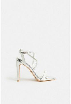 Silver Cross Over Strap Heels