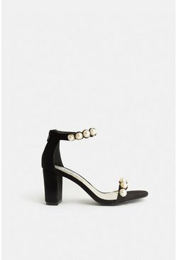 Black Pearl Detail Strappy Block Heels