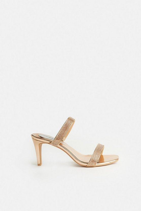 Gold Diamante Double Strap Heeled Mules