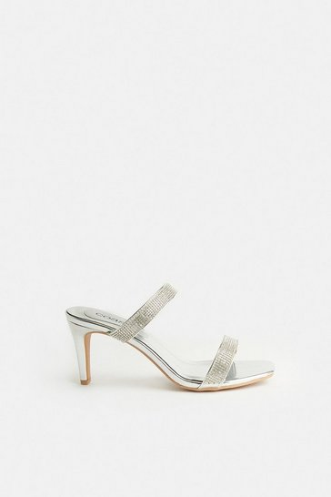 Silver Diamante Double Strap Heeled Mules