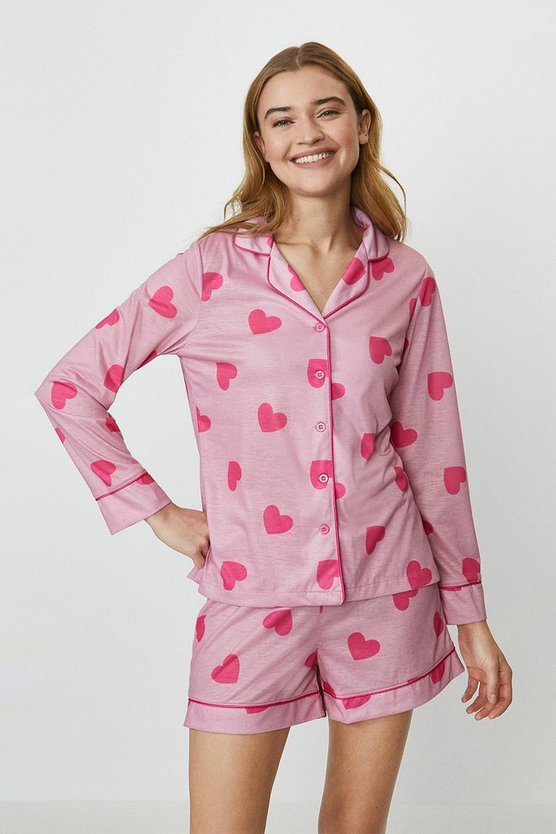 Pink Heart Print Short Pyjama Set