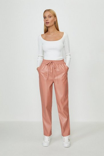 Blush Leather Look Jogger