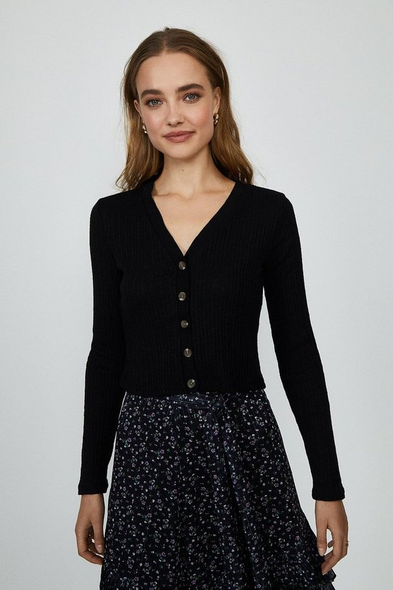 Black Button Up Ribbed Cardigan