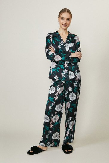 Black Printed Satin Trouser Pyjama Set