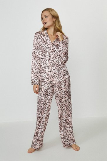 Blush Printed Satin Trouser Pyjama Set