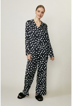 Mono Printed Satin Trouser Pyjama Set
