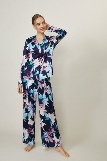 Navy Printed Satin Trouser Pyjama Set
