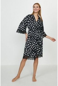 Mono Printed Satin Robe