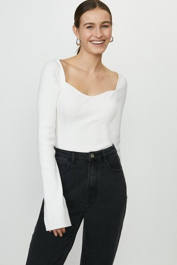 Ivory Sweetheart Neck Knitted Rib Long Sleeve Top