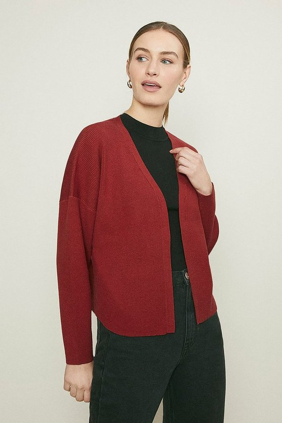 Rust Knitted Rib Cropped Cardigan