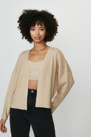 Stone Knitted Rib Cropped Cardigan