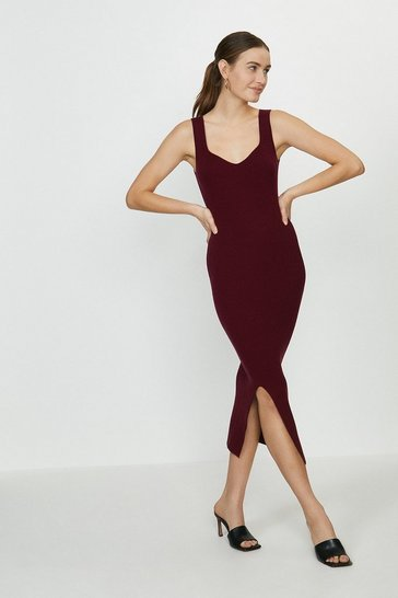 Merlot Sweetheart Neck Knitted Rib Midi Dress