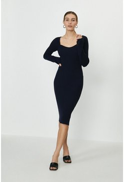 Ink Sweetheart Neck Knitted Rib Midi Dress