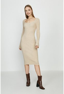 Stone Sweetheart Neck Knitted Rib Midi Dress