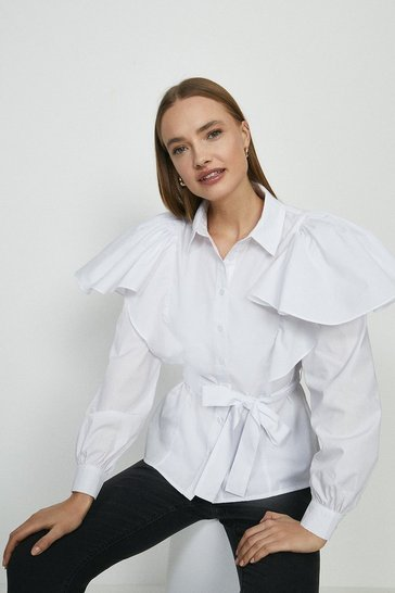 White Belted Ruffle Detail Shirt