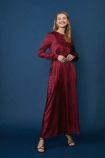 Berry Satin Long Sleeve Maxi Dress