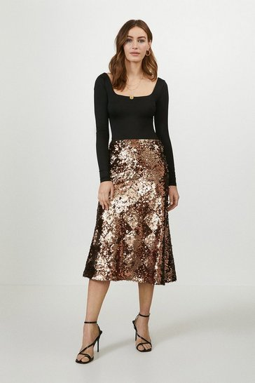 Copper Bias Cut Sequin Skirt