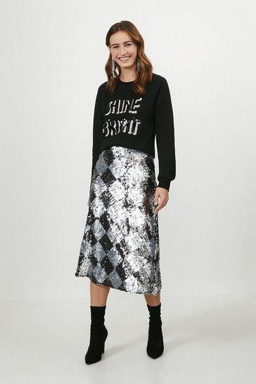 Silver Bias Cut Sequin Skirt
