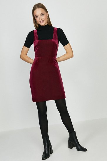 Berry Cord Pinny Dress